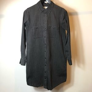 MADEWELL Black denim Shirt dress Xs
